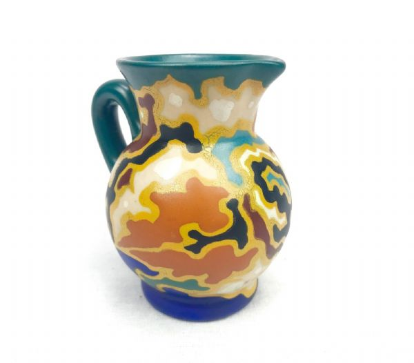 Gouda Pottery Jug / Vase / Art Deco Style Blue / Green / Yellow / Regina